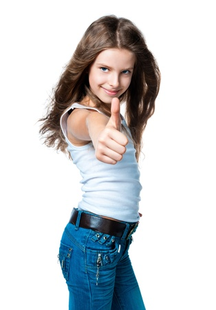 cute girl with thumbs up on a white background