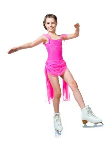 skater: girl on skates isolated on a white background