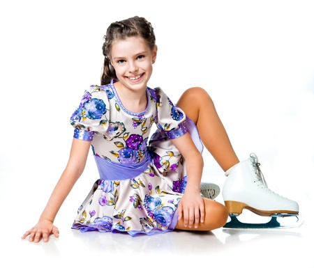 rink: girl on skates isolated on a white background