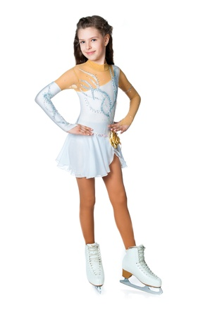 figure skater: girl on skates isolated on a white background