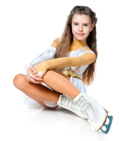 girl on skates isolated on a white background photo