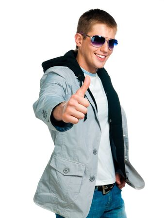 fashion man in sunglasses on white background photo
