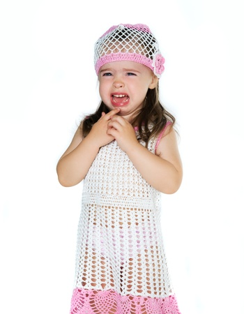 girl crying isolated on a white background