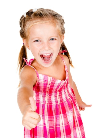 little girl with thumbs up isolated on white photo