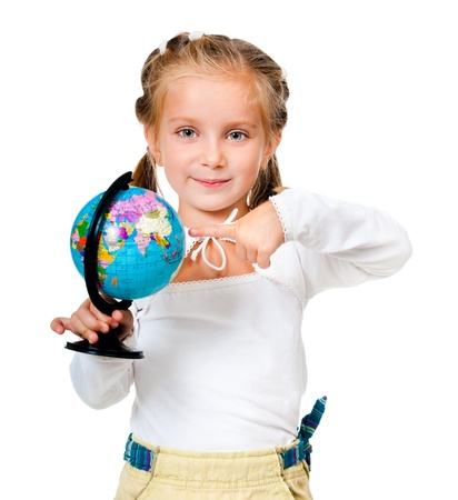girl with globe isolated on white background photo