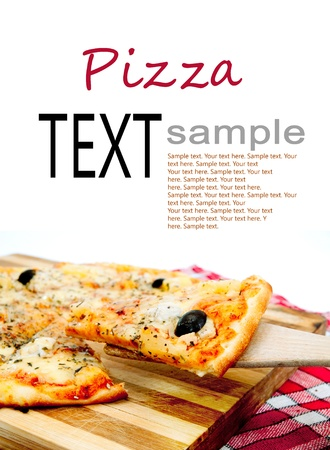 sample text: pieces of pizza are on the cutting board Stock Photo