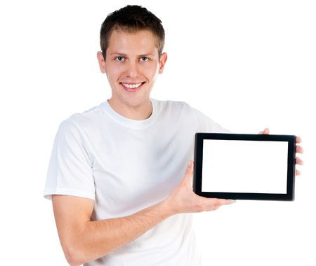smart guy with the tablet isolated on white photo