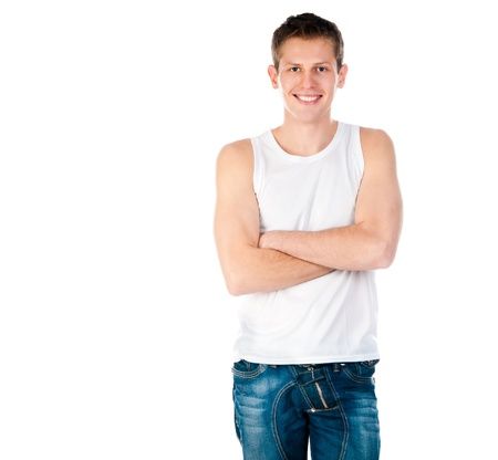 white singlet: young man in a white T-shirt isolated on white