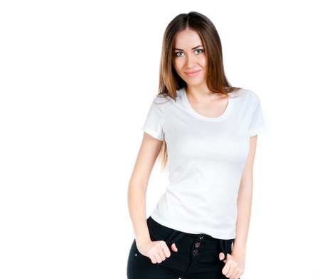 Beautiful teen in a blank white t-shirt for you to add your own text or design Imagens