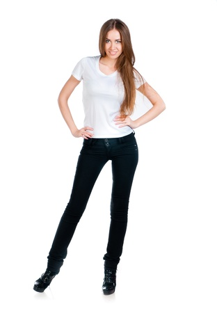 Beautiful teen in a blank white t-shirt for you to add your own text or design Stock Photo - 10954493