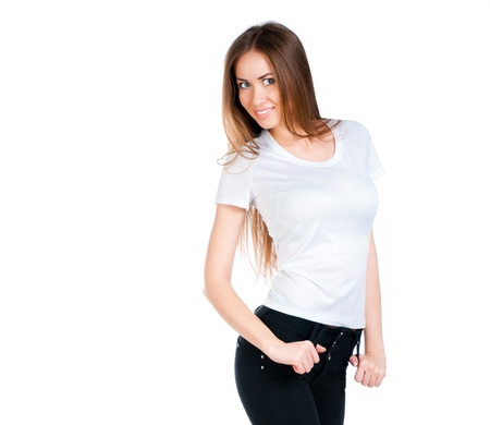 Beautiful teen in a blank white t-shirt for you to add your own text or design Stock Photo
