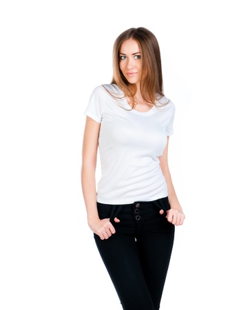 Beautiful teen in a blank white t-shirt for you to add your own text or design photo