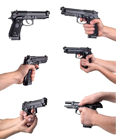 handguns: Guns in hands isolated on a white background