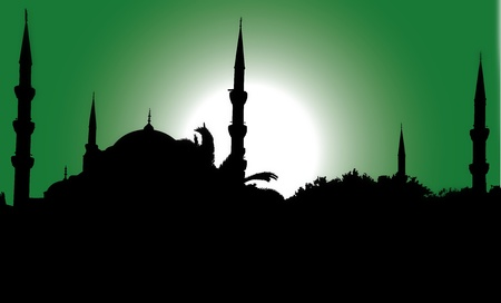 silhouette of the Blue Mosque in Istanbul photo