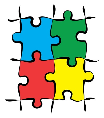 render of jigsaw puzzle pieces in 4 colors Stock Photo - 11133901