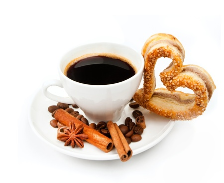 Fresh delicious cookies and cup of coffee photo