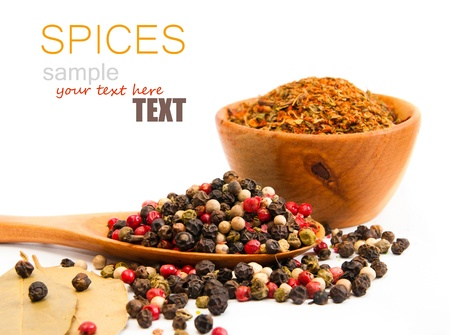 chili powder: spices in a wooden spoon on a white backgrounds