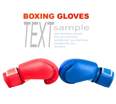 white gloves: Sample text with boxing gloves on a white background close up Stock Photo