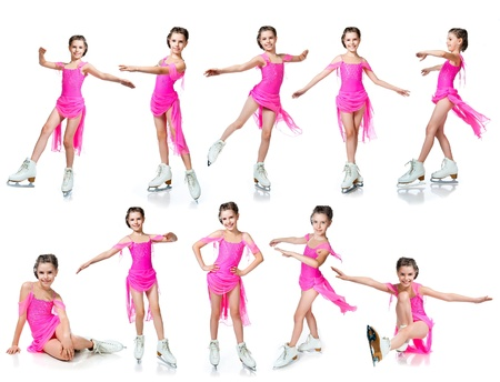 figure skater: girl on skates collection isolated on white Stock Photo