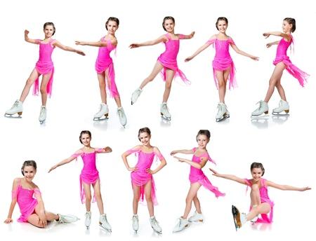 Mädchen auf Schlittschuhen Sammlung isoliert auf weiß Standard-Bild