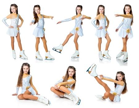 silhouette femme: fille sur la collecte de patins isol� sur blanc