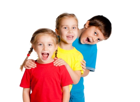 laughing small kids on a white background Stock Photo