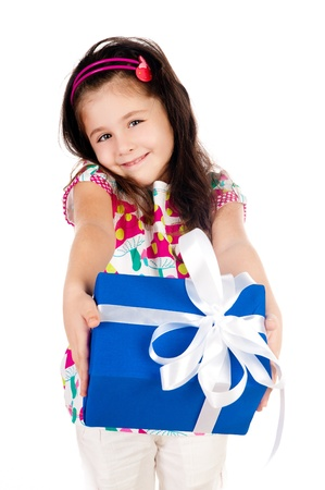 happy birthday girl: beautiful little girl with gifts on a white background Stock Photo