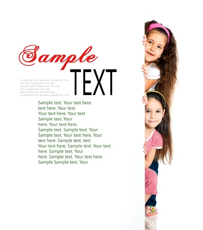 child holding sign: nice girls beside a white blank with sample text