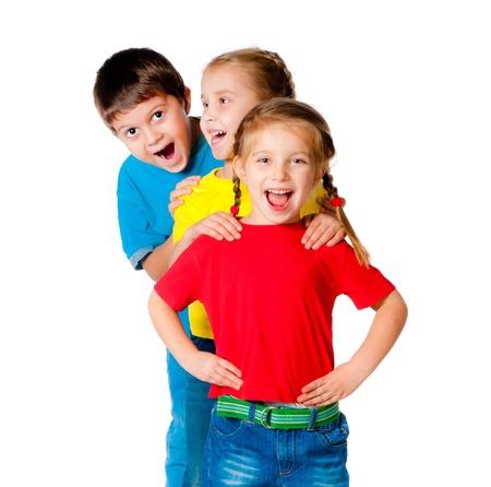 白い背景の上の小さな子供たちの笑い 写真素材