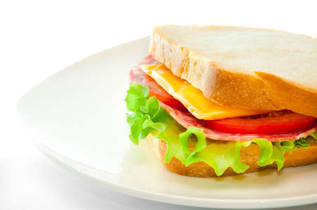 tasty juicy sandwich on a white background photo
