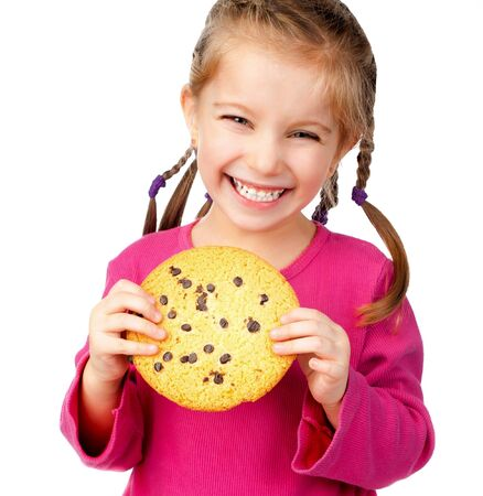 chocolate chip cookies: cheerful little girl with chocolate chip cookies
