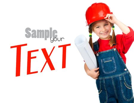 young engineer: little girl in the construction helmet with a poster