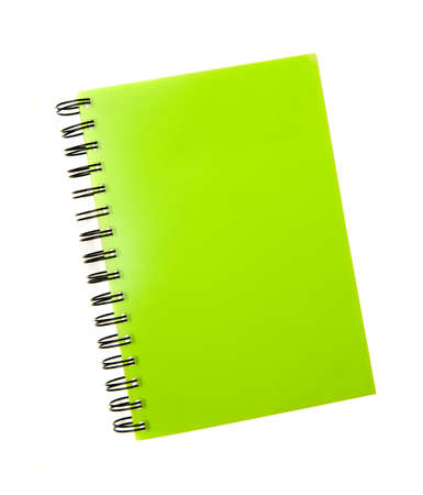 ruled: green notebook spiral bound on white