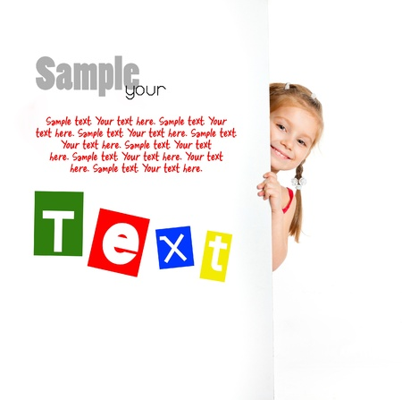 child holding sign: girl beside a white blank with sample text