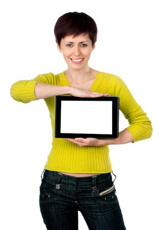 girl with tablet on a white background photo