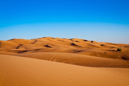 sandy desert on background of blue sky photo