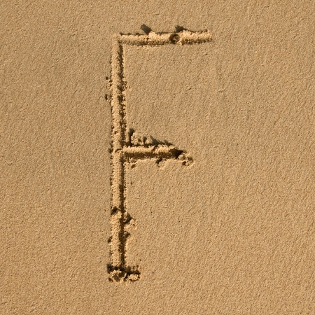 English alphabet in the sand photo