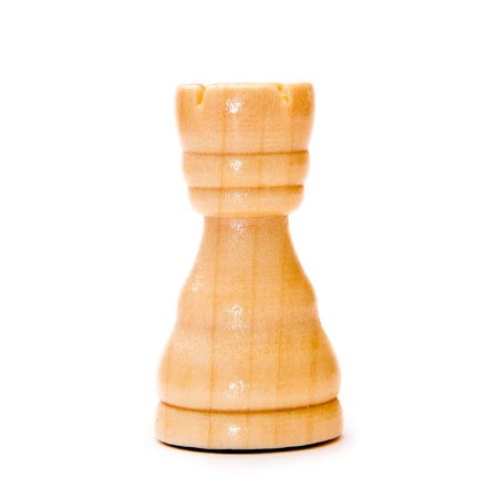 chess rook: white chess piece rook on white background