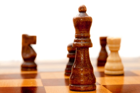 bishop chess piece: game of chess on a board Stock Photo