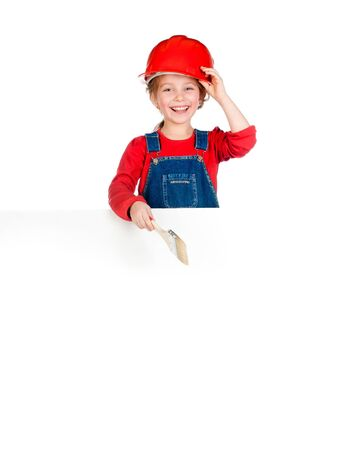 Pretty little girl with a brush and white banner photo