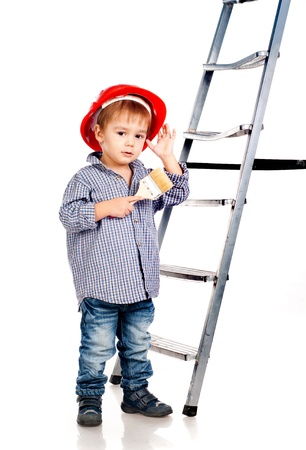 little boy with paintbrush and ladder Stock Photo - 12943081