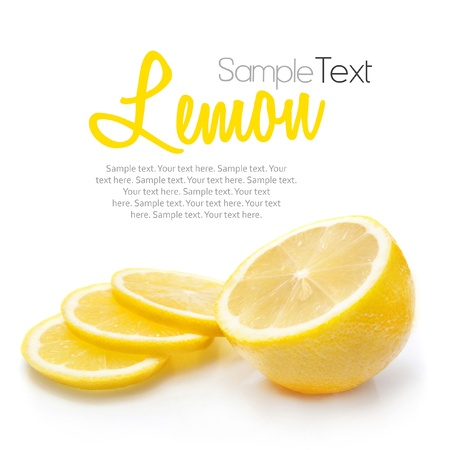 orange slices: Lemon isolated on white with sample text