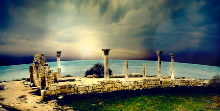ruins is ancient: ancient Greek city of ruins