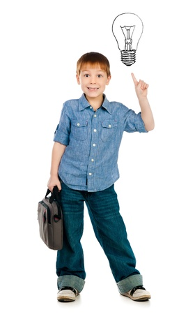 boy with light bulb above his head photo