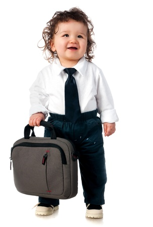 small child dressed in a business with a bag photo