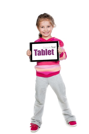 Pretty little girl with a Tablet PC Stock Photo - 13125267