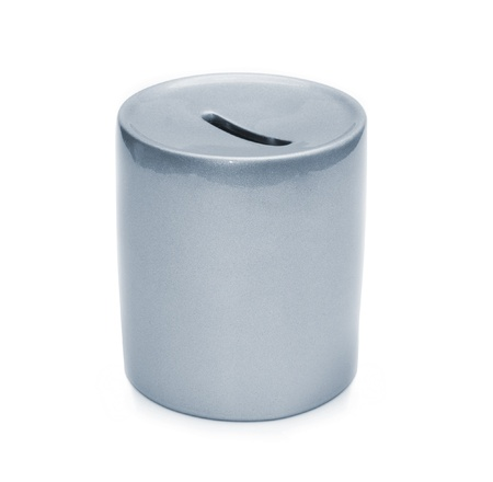 coin box: grey ceramic piggy bank isolated on white background