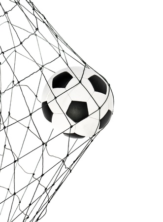 soccer ball in the net gate on a white background Stock Photo
