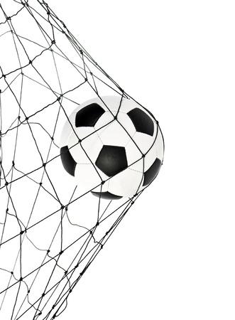 soccer net: soccer ball in the net gate on a white background Stock Photo