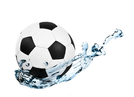 ball on water: soccer ball in a water splash